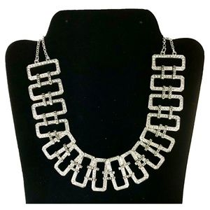 Silver Rhinestone Rectangle Statement Necklace